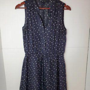 Aritzia Babaton navy blue polka dot benedict dress